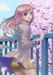 1girl :d blonde_hair blue_eyes blue_sky blurry_foreground cherry_blossoms coat cowboy_shot day eyebrows_visible_through_hair floating_hair grey_coat long_hair long_sleeves looking_at_viewer miniskirt open_clothes open_coat open_mouth original outdoors pencil_skirt petals shiny shiny_hair shirt skirt sky smile solo standing sterilizedgauze-qhx white_shirt yellow_skirt