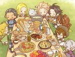 alfyn_(octopath_traveler) animal bag blonde_hair bracelet braid braided_ponytail brown_hair chibi cloak cyrus_(octopath_traveler) dancer dress esaka food fringe_trim fur_trim gloves green_eyes h'aanit_(octopath_traveler) hat jewelry linde_(octopath_traveler) long_hair multiple_boys multiple_girls necklace octopath_traveler olberic_eisenberg open_mouth ophilia_(octopath_traveler) ponytail primrose_azelhart short_hair smile snow_leopard table therion_(octopath_traveler) tressa_(octopath_traveler)