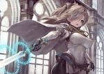 1girl aiguillette belt blue_eyes bodysuit breasts cape covered_navel cowboy_shot fang hair_over_one_eye highres hip_focus indoors large_breasts light_brown_hair long_hair open_mouth original solo suzuno_(bookshelf) sword two_side_up weapon