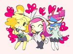 3girls ;d black_pants blue_skin boots bow bright_pupils commentary crossover dog doubutsu_no_mori english_commentary furry glasses hair_bun hal_laboratory_inc. hand_on_own_chest heart hoshi_no_kirby intelligent_systems kirby:_planet_robobot kirby_(series) long_hair looking_at_viewer mario_(series) multiple_crossover multiple_girls nastasia nintendo nintendo_ead one_eye_closed opaque_glasses open_mouth pants paper_mario pink_background pink_hair plaid robot shizue_(doubutsu_no_mori) simple_background skirt smile super_paper_mario super_smash_bros. susie_(kirby) sweat tobidase:_doubutsu_no_mori trait_connection white_footwear