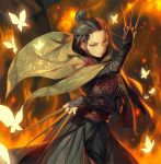 1girl black_hair bridal_gauntlets brown_eyes bug butterfly cloak dual_wielding embers fighting_stance fire glowing hair_bun hair_slicked_back holding insect japanese_clothes kunai lady_butterfly looking_at_viewer mhk_(mechamania) ribbon sekiro:_shadows_die_twice serious solo v-shaped_eyebrows weapon younger