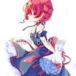 1girl bare_shoulders birthday blue_flower blue_rose blush bouquet commentary cowboy_shot dress dress_bow drill_hair flower frilled_dress frills from_side halterneck holding holding_bouquet kasane_teto looking_at_viewer looking_to_the_side profile red_eyes redhead rose smile solo twin_drills utau yutsuki_utau