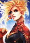 1girl absurdres blonde_hair blue_eyes bodysuit captain_marvel clenched_hand highres lips long_hair marvel mole mole_under_eye monori_rogue painterly solo