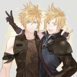 1boy 2boys blonde_hair blue_eyes buster_sword cloud_strife cosplay costume_switch final_fantasy final_fantasy_vii final_fantasy_xv fingerless_gloves ginmu gloves jacket looking_at_viewer male_focus multiple_boys prompto_argentum spiky_hair square_enix sword weapon