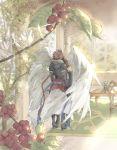 2boys angel_wings armor brown_hair chair coffee_tree feathered_wings fingerless_gloves gloves granblue_fantasy highres hood hood_down indoors kiss lucifer_(shingeki_no_bahamut) male_focus multiple_boys multiple_wings sandalphon_(granblue_fantasy) seraph short_hair table white_hair white_wings wings yaoi yato_1998