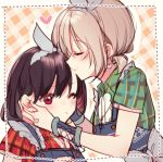 2girls aoba_moka apron bang_dream! black_hair blue_apron blush bow closed_eyes earrings green_shirt grey_bow grey_hair hair_bow heart heart_earrings jewelry matching_outfit mitake_ran mizukikushou multicolored_hair multiple_girls one_eye_closed orange_background plaid plaid_background plaid_shirt red_eyes red_shirt redhead shirt short_hair streaked_hair upper_body yuri