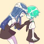 2others androgynous blue_hair child chiyoko_(oman1229) closed_eyes crystal_hair elbow_gloves gem_uniform_(houseki_no_kuni) gloves green_eyes green_hair hime_cut houseki_no_kuni lapis_lazuli_(houseki_no_kuni) long_hair multiple_others necktie open_mouth phosphophyllite short_hair smile suspenders tying_tie younger
