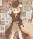 1880 1girl :< anger_vein animal_ear_fluff animal_ears baguette bangs blurry blurry_foreground blush bread brick_wall brown_coat brown_dress brown_headwear cabbie_hat closed_mouth coat commentary_request coreytaiyo dated depth_of_field dress eyebrows_visible_through_hair eyes_visible_through_hair food hair_ornament hair_over_one_eye hat highres long_sleeves looking_at_viewer object_hug open_clothes open_coat original out_of_frame signature sleeves_past_fingers sleeves_past_wrists solo_focus tail tears torn_clothes torn_dress wolf_ears wolf_girl wolf_tail x_hair_ornament yellow_eyes
