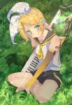 1girl aqua_eyes bare_legs bare_shoulders belt blonde_hair bow bridal_gauntlets dappled_sunlight full_body gloves grass hair_bow hair_ornament hairclip headphones headset highres holding holding_instrument instrument kagamine_rin kawadancho keyboard_(instrument) looking_at_viewer necktie sailor_collar short_hair shorts shoulder_tattoo sitting smile solo sunlight tattoo tongue tongue_out vocaloid white_bow yellow_gloves
