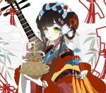 1girl black_hair blue_nails bracelet braid chinese_clothes commentary_request crying crying_with_eyes_open double_bun fingernails flower_knot green_eyes hair_ornament hair_rings highres holding incense_burner instrument jewelry long_hair long_sleeves looking_at_viewer miemia nail_art nail_polish original parted_lips side_bun sidelocks solo tears twin_braids upper_body white_background wide_sleeves