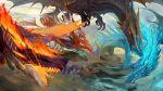 arak blue_eyes der_vasa_rau dragon dragon_riding fennachtur fire flying haku_(shirogane) highres outdoors pixiv_fantasia pixiv_fantasia_last_saga polearm red_eyes sky sostenuto spear weapon