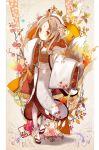 1girl animal_ears black_footwear commentary_request fingernails fire flower fox_ears fox_girl fox_tail full_body hair_flower hair_ornament highres hood hood_up japanese_clothes kimono long_sleeves nail_polish obi original red_flower red_nails sash sleeves_past_wrists socks solo standing standing_on_one_leg tail tree_branch white_flower white_kimono white_legwear wide_sleeves yuzuyomogi zouri
