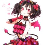 299_(horisso) black_hair commentary commentary_request demon_horns demon_tail demon_wings fangs horns love_live! love_live!_school_idol_project red_eyes tail tiara twintails wings yazawa_nico