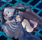 1girl armpits ass black_gloves blue_bow blue_eyes blue_feathers blue_skirt blush bow breasts crown date_a_live elbow_gloves feather-trimmed_gloves gloves hair_between_eyes hair_bow helvetica_5tandard highres knees_up legs long_hair looking_at_viewer medium_breasts no_panties sapphire_(gemstone) see-through silver_hair skirt smile solo thigh-highs thighs tobiichi_origami under_boob veil