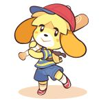 1girl animal_ears ape_(company) backpack bag baseball_bat baseball_cap blonde_hair blue_shorts commentary cosplay dog_ears dog_girl doubutsu_no_mori english_commentary hal_laboratory_inc. hat highres holding_baseball_bat looking_at_viewer mother_(game) mother_2 ness ness_(cosplay) nintendo no_humans red_headwear shirt shizue_(doubutsu_no_mori) short_sleeves shorts simple_background solo sora_(company) starman_jr. striped striped_shirt super_smash_bros. super_smash_bros._ultimate tobidase:_doubutsu_no_mori white_background