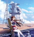 1girl absurdres akagi_(kantai_collection) animal armor arrow bird brown_eyes brown_hair clouds cloudy_sky day gloves hakama hakama_skirt highres japanese_clothes kantai_collection long_hair outdoors quiver red_hakama scan short_sleeves sitting skirt sky smile solo thigh-highs white_legwear yahako zettai_ryouiki
