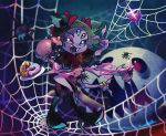 1girl black_footwear black_hair blurry blurry_background blush bow bug coin cup dark_background doughnut extra_arms extra_eyes fangs food hair_bow hand_up heart highres insect_girl liquid monster_girl muffet muffet's_pet multiple_arms open_mouth plate puffy_short_sleeves puffy_sleeves purple_skin red_bow short_hair short_sleeves silk smile spider spider_girl spider_web teacup teapot two_side_up ukata undertale