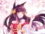 1girl animal_ear_fluff animal_ears azur_lane bangs bare_shoulders blurry blurry_background brown_hair cherry_blossoms commentary_request depth_of_field detached_sleeves dress eyebrows_visible_through_hair fingernails floating_hair flower fox_ears hair_ornament hand_up long_hair long_sleeves looking_away looking_to_the_side nagato_(azur_lane) petals pleated_dress red_dress red_eyes shichijou_natori solo strapless strapless_dress tree_branch upper_body very_long_hair white_flower white_sleeves wide_sleeves