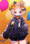 1girl abigail_williams_(fate/grand_order) absurdres balloon bandaid_on_forehead bangs belt black_bow black_jacket blonde_hair blue_eyes blush bow crossed_bandaids fate/grand_order fate_(series) forehead gradient gradient_background hair_bun heroic_spirit_traveling_outfit high_collar highres jacket kawachi_rin long_hair looking_at_viewer orange_background orange_bow parted_bangs sleeves_past_wrists solo sparkle thighs