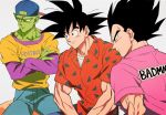 3boys alternate_costume arm_at_side arms_at_sides backwards_hat baseball_cap black_eyes black_hair clothes_writing commentary crossed_arms denim domo_mk02 dragon_ball dragonball_z english_text expressionless facing_away fingernails frown green_skin grey_background hat jeans long_hair long_sleeves looking_away male_focus multiple_boys orange_shirt pants piccolo pink_shirt pointy_ears profile serious sharp_fingernails shirt short_over_long_sleeves short_sleeves simple_background sitting smile son_gokuu spiky_hair symbol_commentary triangle triangle_print undershirt upper_body vegeta yellow_shirt