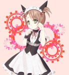 1girl animal_ears apron belt black_skirt brown_hair cat_ears choker contrapposto corset cowboy_shot dress_shirt eyebrows_visible_through_hair fake_animal_ears frilled_skirt frills gears green_eyes highres maid maid_headdress medium_skirt neck_ribbon parted_lips paw_pose pink_background red_ribbon ribbon shinogu_k shirt short_hair short_sleeves short_twintails skirt solo standing steins;gate tennouji_nae twintails waist_apron white_apron white_shirt wrist_cuffs