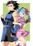 1boy 1girl ;d arm_at_side armor back-to-back belt black_eyes black_hair blue_hair braid breasts brown_gloves bulma character_name clenched_hands clothes_writing commentary_request cowboy_shot dbl_(shallot) dragon_ball dragon_ball_(classic) dragon_ball_legends dress eyebrows_visible_through_hair feet_out_of_frame frown gloves green_background hair_ribbon leotard locked_arms medium_breasts neckerchief one_eye_closed open_mouth pink_dress purple_neckwear red_ribbon ribbon shallot_(dragon_ball) short_dress single_glove skirt skirt_lift smile thighs two-tone_background upper_body upper_teeth white_background