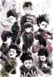 1boy bangs black_eyes black_hair blunt_bangs crying crying_with_eyes_open gakuran highres kageyama_shigeo looking_at_viewer mob_psycho_100 monochrome open_mouth rubble sad school_uniform short_hair sketch smile sweat tears traditional_media wide-eyed worried
