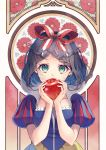 1girl absurdres apple bangs black_hair blue_shirt bow braid breasts chano_hinano commentary_request fingernails flower food fruit green_eyes hair_bow hands_up heart heart-shaped_pupils highres holding holding_food holding_fruit huge_filesize open_mouth parted_bangs puff_and_slash_sleeves puffy_short_sleeves puffy_sleeves red_apple red_bow red_flower see-through shirt short_sleeves skirt small_breasts snow_white snow_white_(grimm) solo symbol-shaped_pupils upper_teeth yellow_skirt