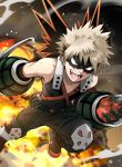 1boy bakugou_katsuki bare_shoulders black_gloves black_mask_(clothing) blonde_hair boku_no_hero_academia boots brown_footwear brown_legwear collarbone commentary_request explosion explosive eye_mask face_mask foot_out_of_frame gloves grenade looking_at_viewer male_focus mask open_mouth pants red_eyes red_gloves shirt short_hair solo spiky_hair teeth two-tone_gloves vorupi