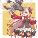 1girl attack bat_wings bell black_skirt breasts claws cleavage commentary_request creature dated debidebi_debiru demon_girl demon_horns demon_tail detached_sleeves frilled_sleeves frills gagame garter_straps highres holding holding_poke_ball honey_strap horns jewelry looking_to_the_side multicolored_hair necklace nijisanji patterned_clothing pink_hair pointing poke_ball red_eyes red_sleeves silver_hair simple_background skirt standing streaked_hair suou_patra tail thigh-highs thighs upper_body virtual_youtuber wings yellow_background zettai_ryouiki