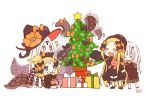 >_< /\/\/\ 4girls :d :i :o ^_^ abigail_williams_(fate/grand_order) bangs black_bow black_dress black_footwear black_headwear black_jacket blonde_hair blue_eyes blush bow box bug butterfly christmas christmas_ornaments christmas_tree closed_eyes closed_mouth dress eating eyebrows_visible_through_hair fate/grand_order fate_(series) food food_on_face forehead gift gift_box gingerbread_man hair_bow hair_bun hat highres insect jacket key lavinia_whateley_(fate/grand_order) long_hair long_sleeves multiple_girls multiple_persona object_hug open_mouth orange_bow parted_bangs polka_dot polka_dot_bow red_eyes red_footwear signature sitting sleeves_past_fingers sleeves_past_wrists smile sofra standing star stuffed_animal stuffed_toy suction_cups teddy_bear tentacle v-shaped_eyebrows very_long_hair white_background white_hair witch_hat