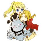 1girl 2boys :< :3 :d alphonse_elric animal armor bangs black_jacket black_shirt blonde_hair blue_eyes blush blush_stickers boots braid brothers cat chibi coat commentary edward_elric eyebrows_visible_through_hair eyelashes floating_hair frown fullmetal_alchemist gloves helmet jacket looking_at_another multiple_boys open_mouth ponytail red_coat shirt siblings simple_background smile symbol_commentary tsukuda0310 v-shaped_eyebrows white_background white_gloves white_shirt winry_rockbell yellow_eyes