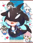 5girls :o absurdres ascot bare_arms black_eyes black_hair blue_eyes blue_hair blush bow bowtie brown_hair chibi chinese_white_dolphin_(kemono_friends) choker closed_mouth collar collared_dress commentary_request common_bottlenose_dolphin_(kemono_friends) common_dolphin_(kemono_friends) covered_eyes dolphin_tail dress eyebrows_visible_through_hair facing_viewer fang frilled_collar frilled_dress frills full_body gradient_hair green_eyes grey_hair hair_between_eyes hair_bow hair_over_eyes head_fins heart highres kemono_friends letterboxed long_sleeves looking_at_another multicolored_hair multiple_girls narwhal_(kemono_friends) necktie open_mouth orca_(kemono_friends) pantyhose pink_hair rakugakiraid sailor_collar shoes short_hair short_sleeves side_ponytail smile splashing tail twintails water white_hair