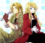 1boy 1girl aqua_background automail back-to-back bangs blonde_hair blue_eyes braid brown_gloves coat commentary cosplay edward_elric edward_elric_(cosplay) eyebrows_visible_through_hair eyes_visible_through_hair fullmetal_alchemist gloves green_pants green_shirt hand_on_own_arm hands_together holding holding_wrench looking_at_viewer pants polka_dot polka_dot_background ponytail red_coat shirt sitting smile square symbol_commentary tsukuda0310 two-tone_background white_background white_gloves winry_rockbell winry_rockbell_(cosplay) wrench yellow_eyes