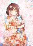 1girl ayamy blurry blurry_foreground brown_hair cherry_blossoms collarbone commentary_request copyright_request cowboy_shot depth_of_field floral_print flower hair_flower hair_ornament highres holding japanese_clothes kimono long_sleeves looking_at_viewer obi orange_eyes orange_kimono original parted_lips pink_flower print_kimono sash short_hair sidelocks solo standing tree tree_branch watermark wide_sleeves yukata