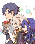 1boy armor blue_eyes blue_hair blush cape father_and_daughter female_my_unit_(fire_emblem:_kakusei) fire_emblem fire_emblem:_kakusei gloves krom long_hair lucina mamkute my_unit_(fire_emblem:_kakusei) nintendo open_mouth short_hair shunrai smile tiara twintails white_hair