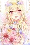 :d bang_dream! bangs blonde_hair blue_dress blush bouquet breasts bug butterfly choker dress eyebrows_visible_through_hair flower hair_between_eyes hair_flower hair_ornament hair_ribbon head_tilt highres holding holding_bouquet insect long_hair looking_at_viewer open_mouth pink_eyes ribbon see-through shirasagi_chisato sidelocks small_breasts smile taya_5323203 upper_body wings wreath