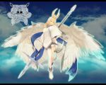 absurdres asymmetrical_legwear blonde_hair blue_eyes blue_sky clouds crown feathered_wings full_body grey_scarf hair_ornament hair_wings hand_on_hip highres holding_polearm huge_filesize long_hair long_sleeves looking_at_viewer nail_polish outdoors pixiv_fantasia pixiv_fantasia_last_saga red_nails rererenoren scarf sky trudy_(pixiv_fantasia_last_saga) white_legwear white_wings wings