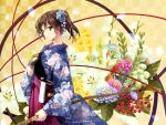 1girl absurdres bangs bow_(weapon) brown_eyes brown_hair eyebrows_visible_through_hair floral_print flower gloves hand_on_own_chest highres holding japanese_clothes kaga_(kantai_collection) kantai_collection kimono long_hair muneate partly_fingerless_gloves ribbon scan side_ponytail solo weapon wide_sleeves yahako yugake