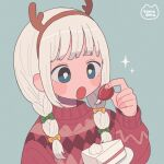 1girl bangs blue_eyes bow braid bright_pupils cake cake_slice fake_antlers food fruit green_bow grey_background hair_bow headband highres holding holding_food holding_fruit long_sleeves nokanok open_mouth original plate red_sweater signature simple_background solo sparkle strawberry sweater twin_braids white_pupils yellow_bow