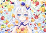 1girl :3 animal_ear_fluff animal_ears apple bangs blue_bow blue_eyes blueberry blush bow cat_ears cherry closed_mouth commentary dress english_commentary flower food food_print food_request fruit hair_between_eyes hair_bow hands_up holding holding_food holding_fruit kiwifruit lemon lime_(fruit) long_hair natsumii_chan orange orange_bow orange_dress original peach pear print_dress raspberry red_apple red_flower red_rose rose school_uniform solo strapless strapless_dress strawberry very_long_hair white_flower white_hair white_rose