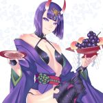 1girl akapug621 bangs blunt_bangs collarbone cup fangs fate/grand_order fate_(series) flat_chest food fruit grapes hair_ornament holding horns japanese_clothes kimono looking_at_viewer obi open_clothes open_kimono purple_hair purple_kimono sakazuki sash shiny shiny_hair shiny_skin short_hair shuten_douji_(fate/grand_order) sitting solo thigh-highs violet_eyes white_background