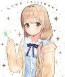 1girl :t bangs blue_bow blue_dress blush bow brown_cardigan brown_eyes brown_hair candy cardigan closed_mouth collarbone collared_dress commentary_request dress eyebrows_visible_through_hair food futaba_anzu hair_between_eyes highres holding holding_food holding_lollipop idemitsu idolmaster idolmaster_cinderella_girls lollipop long_hair long_sleeves low_twintails open_cardigan open_clothes plaid plaid_dress pout sleeveless sleeveless_dress sleeves_past_wrists solo sparkle striped striped_bow twintails upper_body very_long_hair white_background