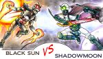 2boys antennae armor battle belt cape claws comic compound_eyes duel fang fighting fire gauntlets glowing glowing_eyes green_eyes helmet holding holding_sword holding_weapon kamen_rider kamen_rider_black kamen_rider_black_(series) male_focus monster moon multiple_boys no_humans open_mouth peaceguy pose red_eyes rider_belt round_teeth satan_saber shadow_moon sharp_teeth space sun sword teeth traditional_media visor weapon