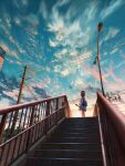 1girl backpack bag blue_skirt blue_sky brown_hair building clouds commentary crescent_moon evening facing_away feet_out_of_frame from_below highres lamppost looking_up moon original pedestrian_bridge plaid plaid_skirt pleated_skirt scenery shirt short_hair shuu_illust skirt sky solo tree utility_pole white_shirt