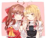2girls ahoge ascot bangs blonde_hair blouse blush bow braid breasts brown_hair commentary detached_sleeves eye_contact eyebrows frilled_ascot frilled_ribbon frilled_shirt_collar frills hair_bow hair_ribbon hair_tubes hakurei_reimu hand_holding interlocked_fingers kirisame_marisa large_bow long_hair looking_at_another multiple_girls one_eye_closed pink_background puffy_short_sleeves puffy_sleeves red_eyes ribbon ribbon-trimmed_sleeves ribbon_trim sash short_sleeves side-by-side side_braid single_braid skirt skirt_set small_breasts spring_666 straight_hair touhou tress_ribbon vest wavy_hair yellow_eyes yellow_neckwear yuri
