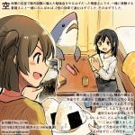 2girls :d alternate_costume blue_eyes blue_hair blush brown_eyes brown_hair colored_pencil_(medium) commentary_request dated food hair_between_eyes hiryuu_(kantai_collection) holding holding_plate kantai_collection kirisawa_juuzou long_sleeves multiple_girls numbered one_side_up onigiri open_mouth plate short_hair smile souryuu_(kantai_collection) sweater traditional_media translation_request twitter_username v-shaped_eyebrows white_sweater yellow_sweater