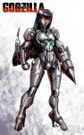 1girl arm_blade black_hair character_request commentary drill drill_hand english_commentary full_body glowing glowing_eyes godzilla_(series) humanoid_robot kaiju_samurai kaijuu machinery mecha no_humans no_pupils red_eyes robot robot_daughter science_fiction solo solo_focus standing super_robot weapon