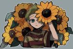 1boy blonde_hair blue_eyes closed_mouth flower grey_background highres holding holding_flower leaf looking_at_viewer lucas mother_(game) mother_3 nintendo raised_eyebrow shirt short_hair simple_background solo striped striped_shirt sunflower