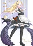 1girl :d abigail_williams_(fate/grand_order) absurdres alternate_costume apron bangs bare_shoulders black_footwear black_legwear black_skirt blonde_hair blush bow breasts cleavage collarbone commentary_request copyright_name cup detached_sleeves enmaided eyebrows_visible_through_hair fate/grand_order fate_(series) forehead frilled_apron frilled_skirt frills full_body garter_straps highres key long_hair looking_at_viewer maid maid_headdress open_mouth orange_bow outstretched_arms parted_bangs shoes short_sleeves skirt small_breasts smile solo spilling spread_fingers standing suction_cups takenoko_27074918 tea teacup teapot tentacle thigh-highs tray two-tone_background very_long_hair waist_apron white_apron wrist_cuffs zettai_ryouiki